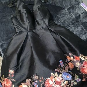 Beautiful black prom dress with floral lining!
